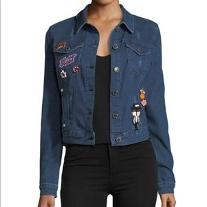 Romeo + Juliet Couture blue denim jacket w/pins